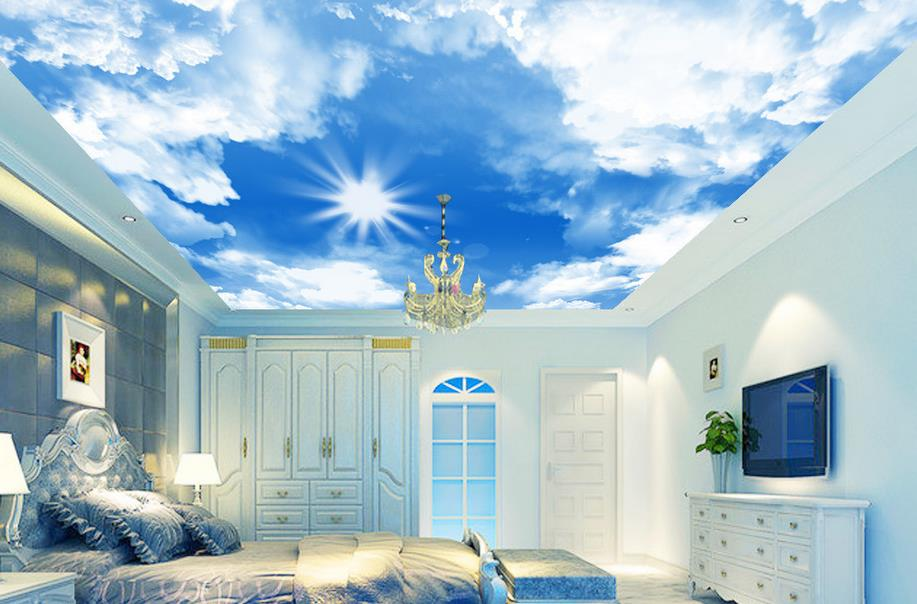 3d-font-b-ceiling-b-font-murals-wallpaper-Blue-sky-and-white-clouds-font-b-ceiling